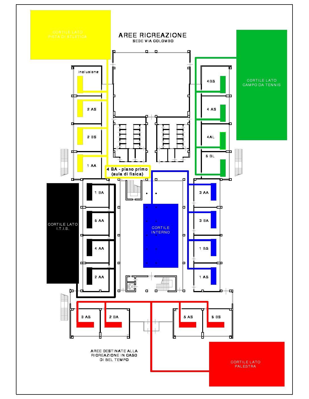Pianta ricreazione esterno Colombo COVID 2021-22